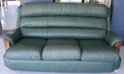 Green leather 3 seater lounge in fair condition
