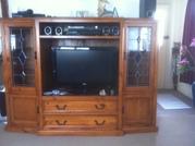 TV Cabinet Solid wood Lead Light  Glass Doors