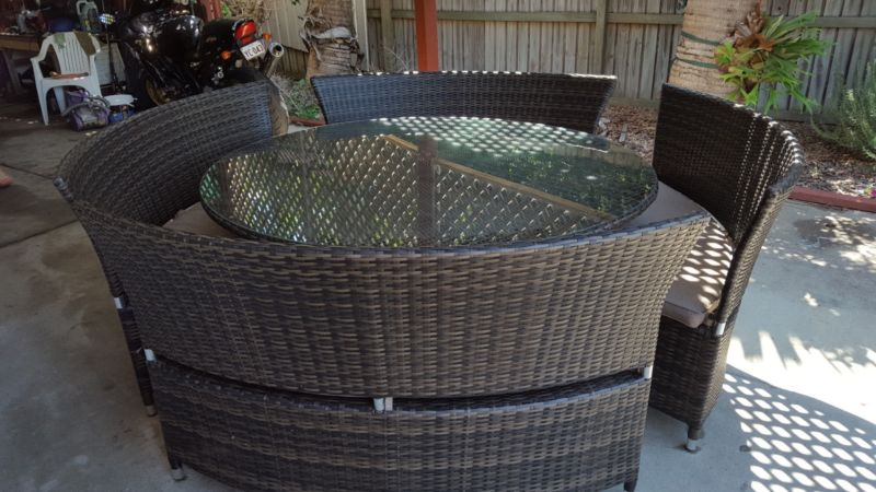 large round wicker dining setting suite new buyer hervey On outdoor furniture hervey bay