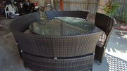 Large round wicker dining setting suite new buyer